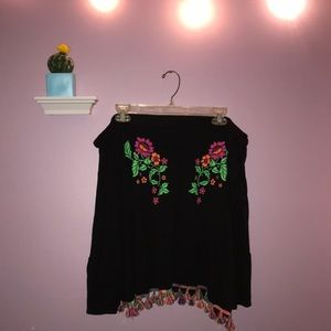 Black floral off the shoulder top